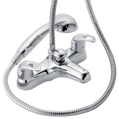 Izzi - Deck Mounted Bath Shower Mixer with Shower Kit