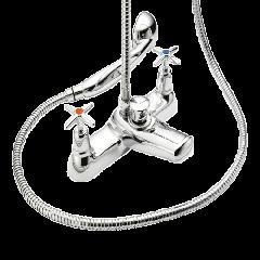 Cross Top - Bath Shower Mixer with Shower Kit